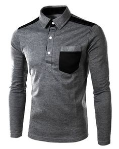 One Patch Pocket Color Block Splicing Slimming Turn-down Collar Long Sleeves Men's Polo T-Shirt #jewelry, #women, #men, #hats, #watches, #belts, #fashion