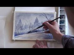 ▶ Easy step by step watercolor tutorial: winter in Central Park - YouTube