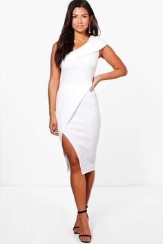 b75b923deef8d boohoo One Shoulder Wrap Skirt Midi Dress | bachelorette party dress |  rehearsal dinner dress