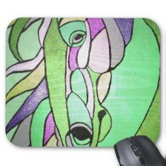 Metallic Horse in Green Mouse Pad