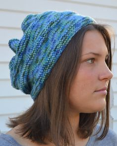 Knit Slouch Beanie CANYON Hand Knit in Variegated Blues and Greens by Gone2Pieces