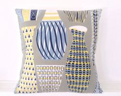 Graphic fifties vases cushion cover stone blue white and by iciri