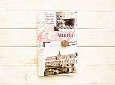 "Passport cover holder sleeve travel wallet case organizer Paris Sacre-Coeur Louvre stamp text light pink beige black cream pocket 3,5"" x 5""…"