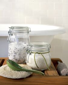 Homemade Bath Salts. Take 4 cups of sea salt or Epsom Salts. Mix in several drops of Lavender essential oil and, if you wish, dried fragrant plants, such as lavender or eucalyptus. Pour into a jar for yourself or to give as a gift. Use a few spoonfuls of salts per bath; to keep herbs from floating, spoon the mixture into a spice sachet (available at gourmet grocery stores).