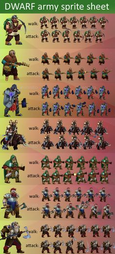 Buy Dwarf Army game sprite sheet by dokurobey on GraphicRiver. This set contains set of 7 units of dwarf army units. Each unit have its movement and attack. Units were used in Game. Character Modeling, Game Character, Powerpoint Game Templates, Army Games, Board Game Template, Video Game Sprites, Pixel Art Games, Real Time Strategy, Game Background