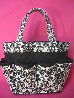 5a49e976e5f9 Damask .black. white. print Large bingo bag by sewtrendyrose