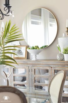 Vintage French Soul ~ Shades of Summer Home Tour with Neutrals and Naturals- breakfast nook with buffet and round brass mirror Dining Room Walls, Dining Room Design, Home Living Room, Living Room Decor, Decoration Buffet, Buffet Table Ideas Decor Dining Rooms, Dining Buffet, Sideboard Decor, Credenza