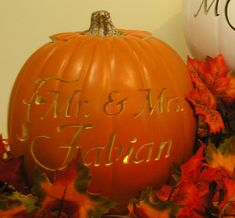 Fall Wedding Personalized Carved Decorative by purpleinkgraphics, $50.00