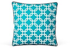 One Kings Lane - Playing with Pattern - 20x20 Links Pillow, Teal #OKLsummer