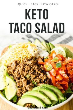 Keto Taco Salad Recipe – Green and Keto Craving tacos on the keto diet? Try this easy keto taco salad for a quick weeknight dinner. It's packed with yummy low-carb Mexican ingredients like salsa, avocado, seasoned ground beef, and shredded cheese. Keto Taco Salad, Taco Salad Recipes, Salmon Recipes, Beef Recipes, Pasta Recipes, Dinner Recipes, Seafood Recipes, Cheese Recipes, Dinner Ideas