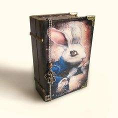 White Rabbit Book Box Alice in Wonderland Jewelry Box | Etsy Rabbit Book, Adventure Gifts, Wood Book, Decoupage Box, Card Box Wedding, Wood Home Decor, Gifts For Teens, Keepsake Boxes, Trinket Boxes