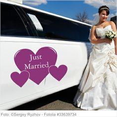 Autoaufkleber Hochzeit - Just Married 3 Herzen