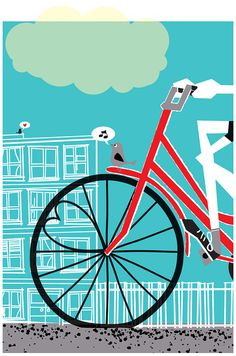 hand silkscreen printed bicyle + love art print,  Going To See My Baby Teal by strawberryluna.