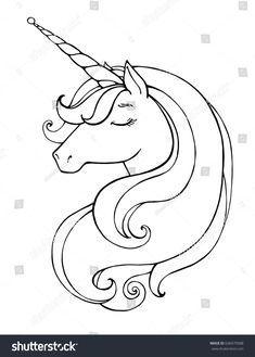 Unicorn Magical Animal Vector Artwork Black Stock Vector (Royalty Free) 636979588 – The Best Ideas Unicorn Images, Unicorn Pictures, Unicorn Painting, Unicorn Drawing, Unicorn Head, Unicorn Art, Unicorn Coloring Pages, Coloring Book Pages, Unicorn Illustration