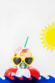 DIY Retro Swim Frappuccinos for Summer Pool Parties Starbucks Cup Art, Starbucks Drinks, Starbucks Coffee, Summer Pool Party, Pool Parties, Retro Swim, Food Wallpaper, Coffee Company, Frappuccino