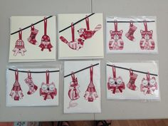 Fabric ironed onto cards
