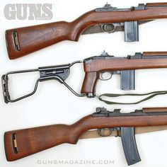 US Military Carbines. The Carbine Concept vanished with horse cavalry, but was revived for mechanized warfare. In 1941 the US Army returned to the carbine concept with the M1 .30 Carbine (top). A paratrooper version was the M1A1 (middle) and then an M2 select fire version (bottom) was developed. More from the October 2017 issue of GUNS Magazine. #righttobeararms #wwii #carbines #igmilitia #m1 #m1a1 #m2 #igmilitia #2a #freedomfriday