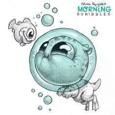 Chris Ryniak - morning scribbles - cute and funny art Cute Monsters Drawings, Cartoon Drawings, Cartoon Art, Cute Drawings, Pencil Drawings, Cute Sketches, Drawing Sketches, Monster Drawing, Doodle Monster