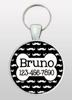 Custom Pet ID Tag - Mustache Dog Tag - Pet I.D. Tag - Cat ID Tag - Dog Name Tag - Dog ID Tag - Black with White Mustaches - Design No. 265