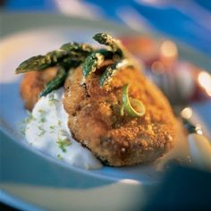 Southern-Style Crab Cakes With Cool Lime Sauce and Dijon Asparagus...