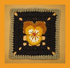 Pansy Square- I would do this in purples and greens with a white background rather than...brown...