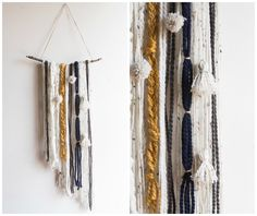 Give your dorm windows some texture and color with this awesome DIY Yarn Tapestry. plaidcrafts - Diy Ideas for The Home Yarn Wall Art, Yarn Wall Hanging, Wall Hangings, Yarn Crafts, Decor Crafts, Diy Crafts, Wood Crafts, Dreams Catcher, Creative Decor