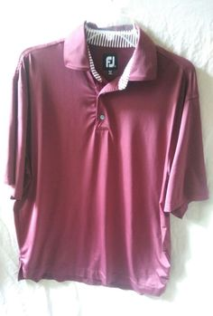 a6a162eb3bd6 FJ Footjoy Red Athletic Fit Short Sleeve Golf Polo Shirt Men s Size Large   FootJoyPoloShirtSizeLarge Golf