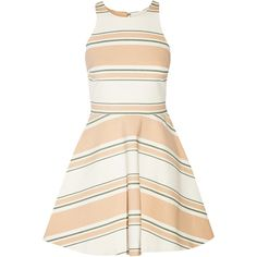 Elizabeth and James Magdalena striped cady mini dress ($270) ❤ liked on Polyvore featuring dresses, peach, stripe dress, fitted mini dress, white loose dress, white mini dress and fitted dresses
