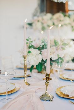 vintage brass candle holder with blush ester and erik tapered candles- Photo by fine art wedding photographer Cristina Ilao www.cristinailao.com Wedding Top Table, Wedding Table Settings, Wedding Reception Decorations, Magical Wedding, Elegant Wedding, Photo Candles, Fine Art Wedding Photography, Queen, Wedding Planning Tips
