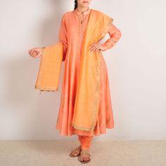 Peach Chanderi Block Printed Kalidar Kurta Set