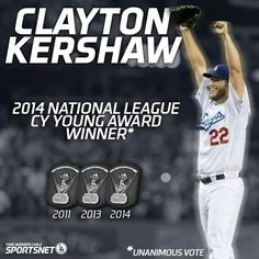 Clayton Kershaw  3 time Cy Young Award Winner