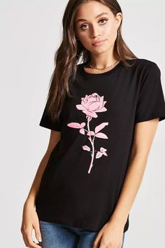 Product Name:Rose Graphic Tee, Category:top_blouses, Price:8.9