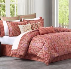 gorgeous red and coral pattern bedding set - Aberdeen Medallion Coral Red Comforter Set