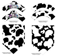 Black & White Cow Print Cupcake Wrappers with Flag Party Banners-New Baby Shower Party Decorations-Instant Download-Farm Barnyard Cow Party