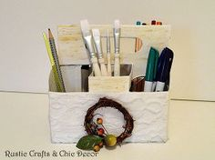 recycled six pack bottle container storage caddies, crafts, decoupage, repurposing upcycling, Painted the top to look similar to birch bark and added lace to the bottom