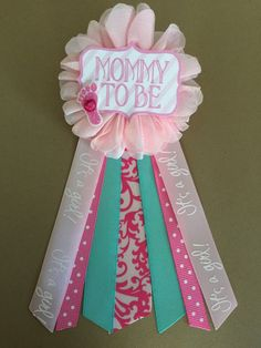 Pink and Aqua Teal Baby Shower Mommy-to-be Flower by afalasca