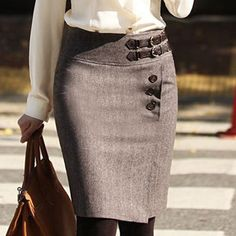 Korean Winter A-Line Woolen OL Skirt - Taobao - Practical, cute, professional