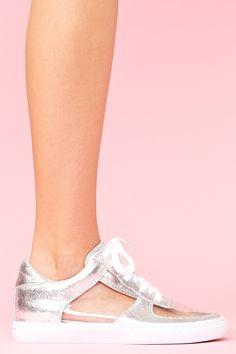 needs socks...  but would be very cute with cute socks... Meyers Metallic Sneaker -- NastyGal.com
