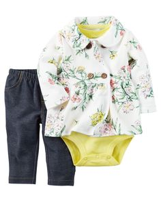 Designed for all-day play, dressing is easy with this ready-to-wear matching set. Featuring a button-up French terry jacket, this 3-piece set is complete with a coordinating cotton bodysuit and knit denim pants.
