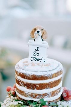 Thanks to @laurievalko on Etsy, our beagle, Bagel, made an appearance... destroying our cake even in absentia as a cake topper.