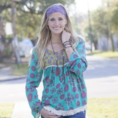 Lime Green & Turquoise Indie Print Tunic