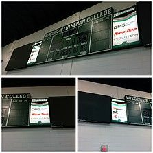 We put printed vinyl on two Lexan panels for the Wisconsin Lutheran College indoor scoreboard. #3M #vinyl #Lexan #WisconsinLutheranCollege #sign