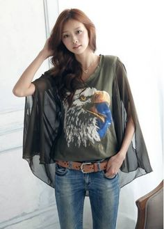 Exotic Style Color Split Dolman Sleeve Eagle Print T Shirt
