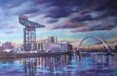 THE CHANGING FACE OF GLASGOW II by Hanna Kaciniel. A beautiful original #oil #painting of #Glasgow city