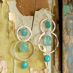 Anusha silver circle and turquoise earrings