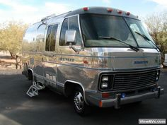 1977 Airstream Argosy, Chevy Chassis with a Airstream Motorhome, Airstream Bambi, Camper Steps, Rv Bus, Step Van, Camping Resort, California History, Remodeled Campers, Van Life