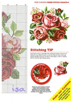 Red roses free cross stitch pattern