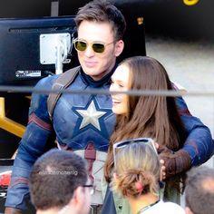 With Chris Evans on the set of Captain America: Civil War in Atlanta, Georgia. // #elizabetholsen #lizzieolsen #chrisevans #captainamericacivilwar #scarletwitch #captainamerica