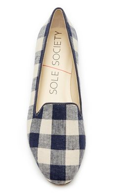 Navy plaid smoking slipper