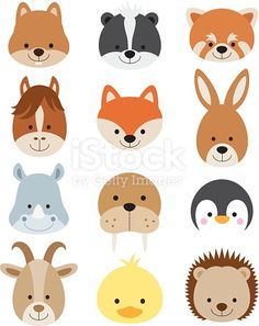 Vector illustration of animal faces including squirrel, hamster, skunk, red… Animal Heads, Animal Faces, Woodland Creatures, Woodland Animals, Safari Animals, Felt Animals, Cute Animals, Face Illustration, Hedgehog Illustration